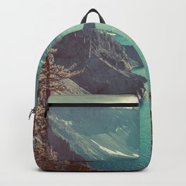 Vintage Blue Crater Lake and Trees - Nature Photography Backpack
