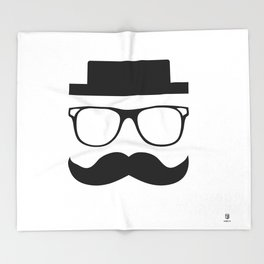 Hipster Mustache Throw Blanket