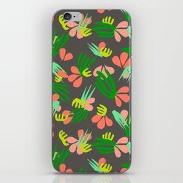 Henri's Garden in gray // tropical flora pattern iPhone Skin