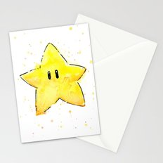 Invincibility Star Mario Watercolor Geek Gamer Art Stationery Cards