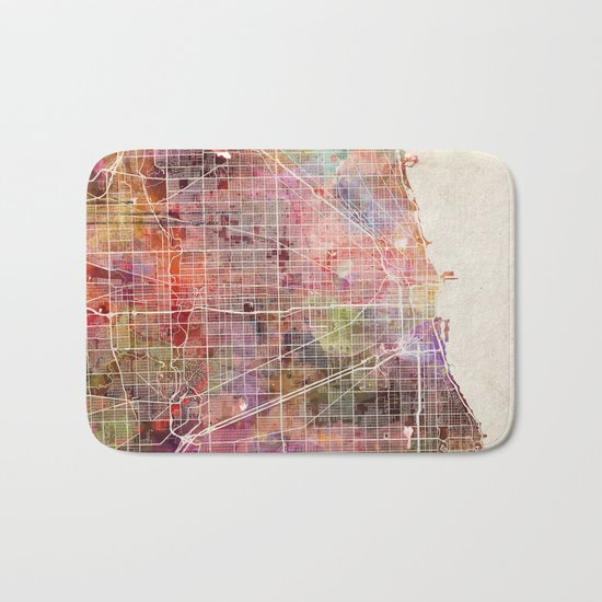 Chicago map Bath Mat