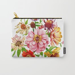 Zinnia Wildflower Floral Painting Carry-All Pouch