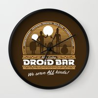 bar Wall Clocks featuring Droid Bar by Doodle Dojo