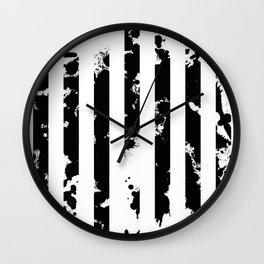 Splatter Bars - Black ink, black paint splats in a stripey stripy pattern Wall Clock