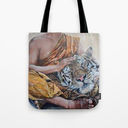 Rest Your Head - Tiger with Buddhist Monk Tote Bag