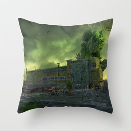 Post Apocalyptic Royton NHS Doctors Building Throw Pillow
