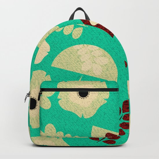 Mushrooms and flowers canvas Backpack