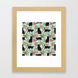 Black cat hawaiian cat breeds cat lover pattern art print cat lady must have Framed Art Print