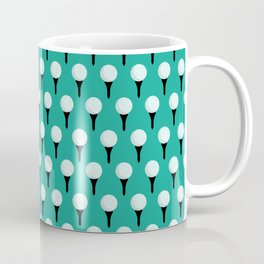 Golf Ball & Tee Pattern (Green) Coffee Mug