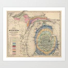 Vintage Michigan Geology Map (1873) Art Print