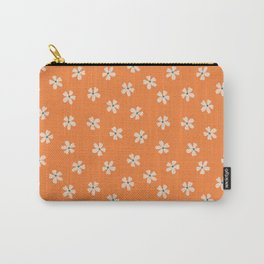 70s retro orange groovy grannie floral pattern Carry-All Pouch