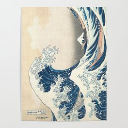 The Great Wave off Kanagawa by Katsushika Hokusai from the series Thirty-six Views of Mount Fuji Poster