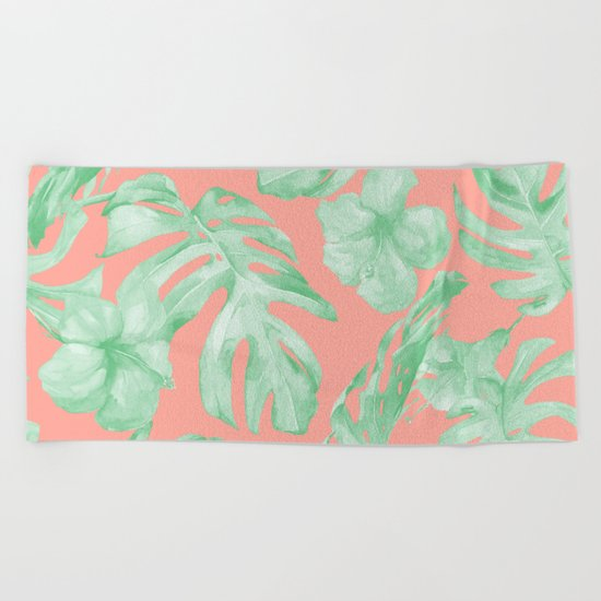 Tropical Palm Leaves Hibiscus Flowers Coral Green Beach Towel
