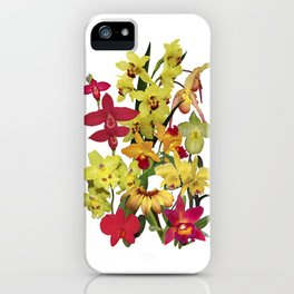 Orchids - Hot Colors! On white iPhone Case
