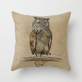 Paper Bag Owl Throw Pillow