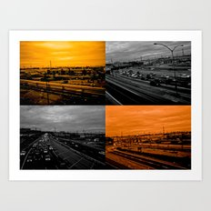 Riding on the metro, orange crush Art Print
