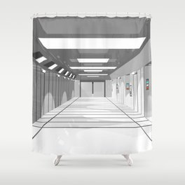 Space ship Shower Curtain