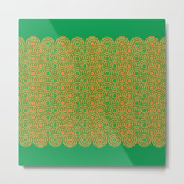 op art pattern retro circles in green and orange Metal Print