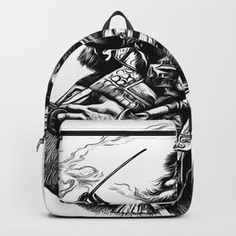 Vintage Style Black and White Illustration Of Santa Claus Backpack