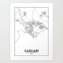 Minimal City Maps - Map Of Cagliari, Italy. Art Print
