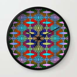 Pizza Party double rainbow gradient doodle Wall Clock