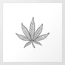 Minimal Marijuana Art Print