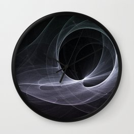 Fractal Wave Abstract Lines Purple White Teal on Black Wall Clock