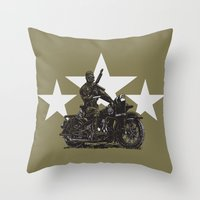 military Throw Pillows featuring Military Harley by Ernie Young