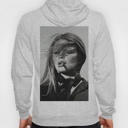 Brigitte Bardot Smoking a Cigarette, Black and White Photograph Hoody