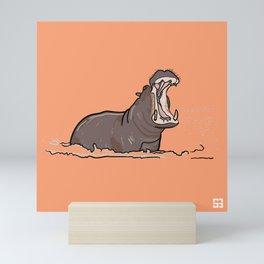 Alphabetic Animals: Pinky Orange Hippopotamus Mini Art Print