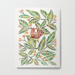 Happy Sloth – Tropical Green Rainforest Metal Print