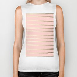 Abstract Drawn Stripes Gold Coral Light Pink Biker Tank