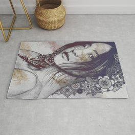 Stoic: Violet (japanese girl with mandalas) Rug