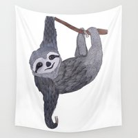 sloth Wall Tapestries featuring *Sloth* by Frau Ottilie Illustration