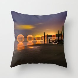 THE OC - Light Painting at Port Willunga, South Australia. Throw Pillow