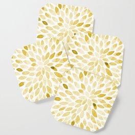 Watercolor brush strokes - yellow Coaster