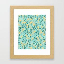 Emerald green and Yellow Minimal Retro Flowers Pattern Framed Art Print