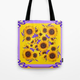 PURPLE ART NOUVEAU YELLOW SUNFLOWERS Tote Bag