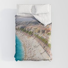The French Riviera Landscape Painting by Jeanpaul Ferro Duvet Cover