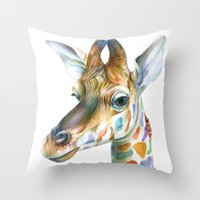 kindle Throw Pillows featuring Giraffe by Brandon Keehner