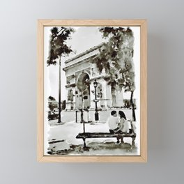 The Arc de Triomphe Paris Black and White Framed Mini Art Print