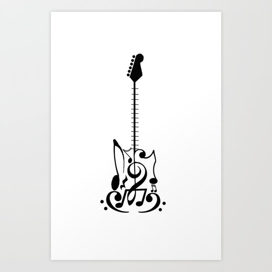 Guitar of Notes Art Print