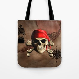 The Jolly Roger Pirate Map Tote Bag