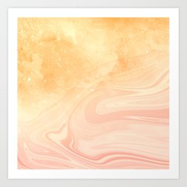 Red marble with gold overflow Art Print