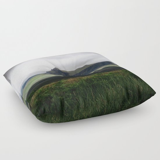 Green Floor Pillows : Green Mountain Floor Pillow by Sebastien BOUVIER Society6