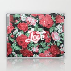 Red Pink Roses Chic Love Vintage Floral Pattern Laptop & iPad Skin
