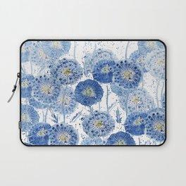 blue indigo dandelion pattern watercolor Laptop Sleeve