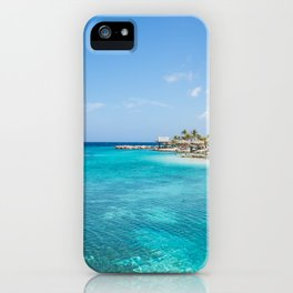 Blue water lake with huts and palm trees around iPhone Case