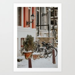 "Heerengracht canal houses with snowed bikes | Fine art photo print of the ""Amsterdam during winter"" series Art Print"