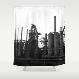 Bethlehem Steel Blast Furnaces in black and white 6 Shower Curtain